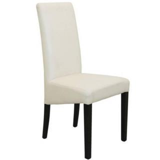 Chaise design MALMÔ  similicuir pu blanc piétement noir