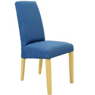 Chaise design MALMÔ tissu bleu piétement naturel