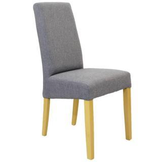 Chaise design MALMÔ  tissu gris silex piétement naturel