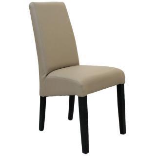 Chaise design MALMÔ  similicuir pu taupe piétement noir