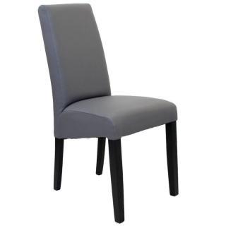 Chaise design MALMÔ  similicuir pu gris piétement noir