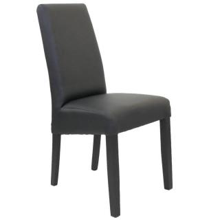 Chaise design MALMÔ  similicuir pu noir piétement noir