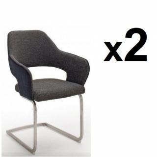 Lot de 2 chaises design NABAS tissu anthracite pieds luge acier brossé