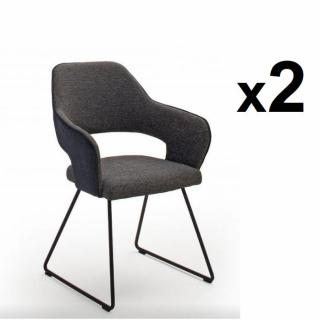 Lot de 2 chaises design NABAS tissu anthracite pieds traîneau laque anthracite