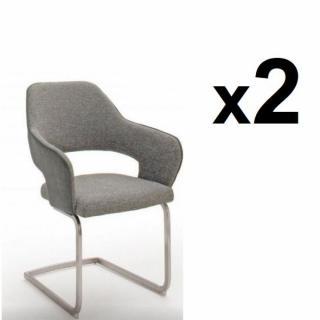 Lot de 2 chaises design NABAS tissu gris pieds luge acier brossé
