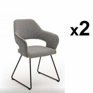 Lot de 2 chaises design NABAS tissu gris pieds traîneau laque anthracite