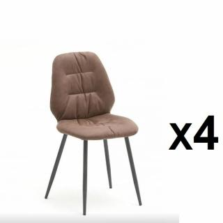 Lot de 4 chaises rétro NADES cappuccino pieds laqués anthracite