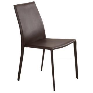 Chaise design POLO en tissu enduit polyuréthane simili façon cuir marron