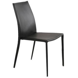 Chaise design POLO en tissu enduit polyuréthane simili façon cuir  noir