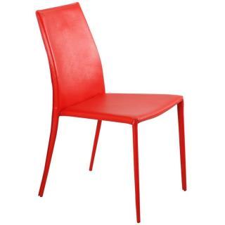 Chaise design POLO en tissu enduit polyuréthane simili façon cuir rouge