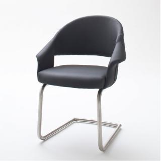 Lot de 2 chaises design PORTO polyuréthane anthracite pieds acier brossé