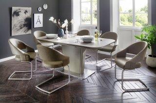 Lot de 2 chaises design PORTO polyuréthane taupe pieds acier brossé