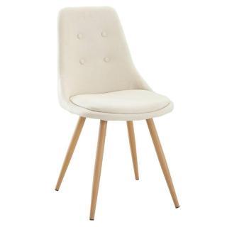 Chaise design scandinave MIDGARD tissu écru