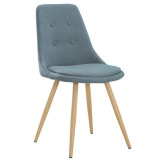 Chaise design scandinave MIDGARD tissu bleu