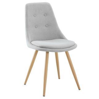 Chaise design scandinave MIDGARD tissu gris clair