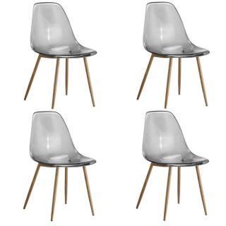 Lot de 4 chaises design scandinave OSANA en polycarbonate fumé