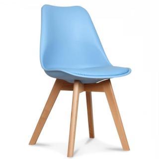 Chaise OSLO design scandinave bleu clair piétement en hêtre