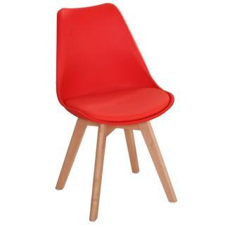 Chaise OSLO design scandinave rouge piétement en hêtre
