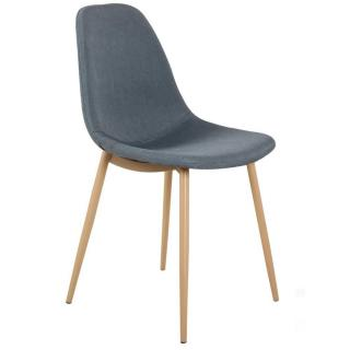 Chaise STOCKHOLM design scandinave tissu bleu jeans