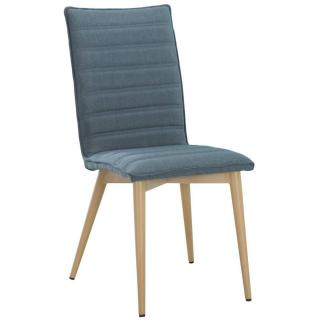 Chaise design scandinave UTGARD tissu bleu