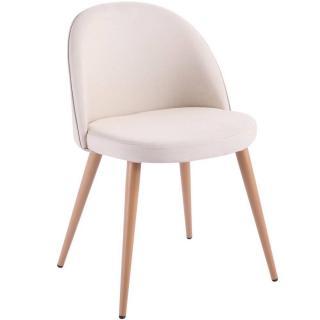 Chaise design scandinave VELVET tissu beige