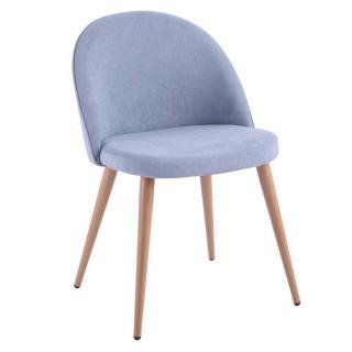 Chaise design scandinave VELVET tissu bleu clair