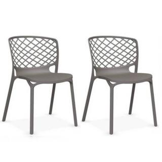 Lot de 2 chaises empilable GAMERA  grège opaque
