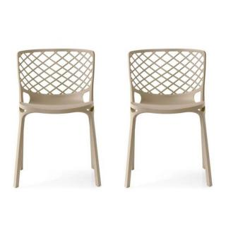 Lot de 2 chaises empilable GAMERA  nougat