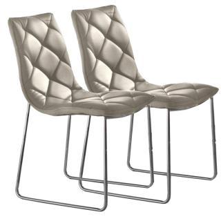 Lot de 2 chaises TOSCANE revêtement polyuréthane façon cuir taupe piétement chromé