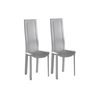 Lot de 2 chaises BOND en tissu enduit polyuréthane simili façon cuir blanc