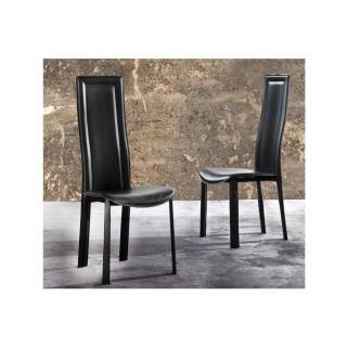 Lot de 2 chaises BOND en tissu enduit polyuréthane simili façon cuir noir