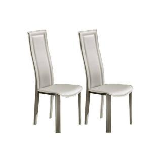 Lot de 2 chaises BOND en tissu enduit polyuréthane simili façon cuir taupe clair