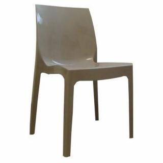 Lot de 4 chaises haut de gamme FALENA empilables taupe brillant