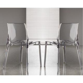 Lot de 2 chaises FALENA empilables en polycarbonate transparent