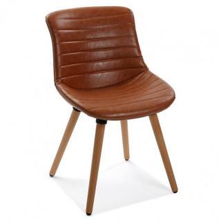 Chaise JAMES vintage revêtement polyuréthane piétement hêtre