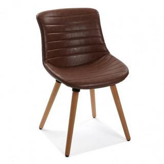 Chaise JAMES vintage revêtement polyuréthane marron piétement hêtre