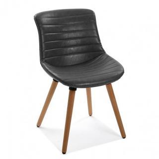 Chaise JAMES vintage revêtement polyuréthane noir piétement hêtre