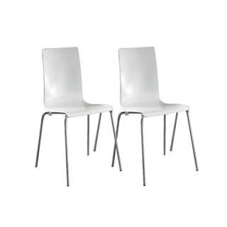 Lot de 2 chaises KRIS blanches empilables piétement en métal.