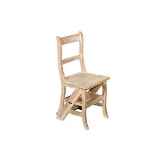 Chaise de libraire INES en teck blanchi