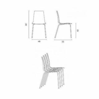 Lot de 2 chaises LOLLIPOP empilable design transparente rouge