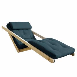 Chaise longue futon scandinave VIGGO pin massif coloris bleu pétrole couchage 70*200 cm.