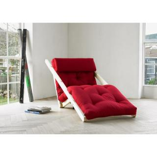 Chaise longue futon scandinave VIGGO pin massif coloris bordeaux couchage 70*200 cm.