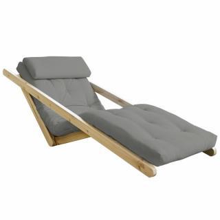Chaise longue futon scandinave VIGGO pin massif coloris gris couchage 70*200 cm.