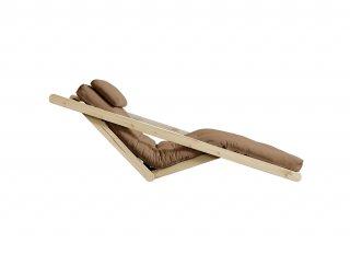 Chaise longue futon scandinave VIGGO pin massif coloris mocca couchage 70*200 cm.