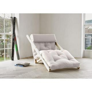 Chaise longue futon scandinave VIGGO pin massif coloris écru couchage 70*200 cm.
