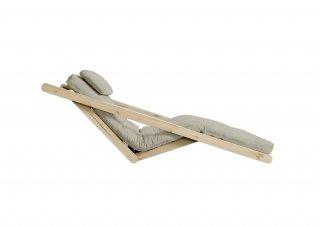 Chaise longue futon scandinave VIGGO pin massif tissu lin couchage 70*200 cm.