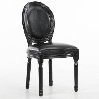 Chaise médaillon VERSAILLES style louis XVI similicuir pu noir