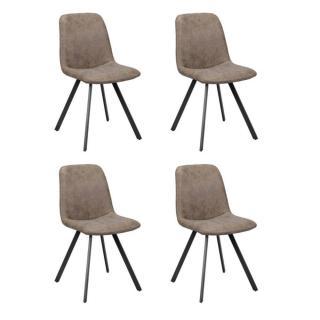 Lot de 4 chaises design MARC polyuréthane marron foncé