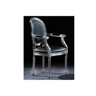 Chaise medaillon CLEOPATRA argent et tissu enduit polyuréthane simili façon cuir noir