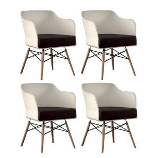 Lot de 4 chaises design NORDIKA blanche et hêtre massif
